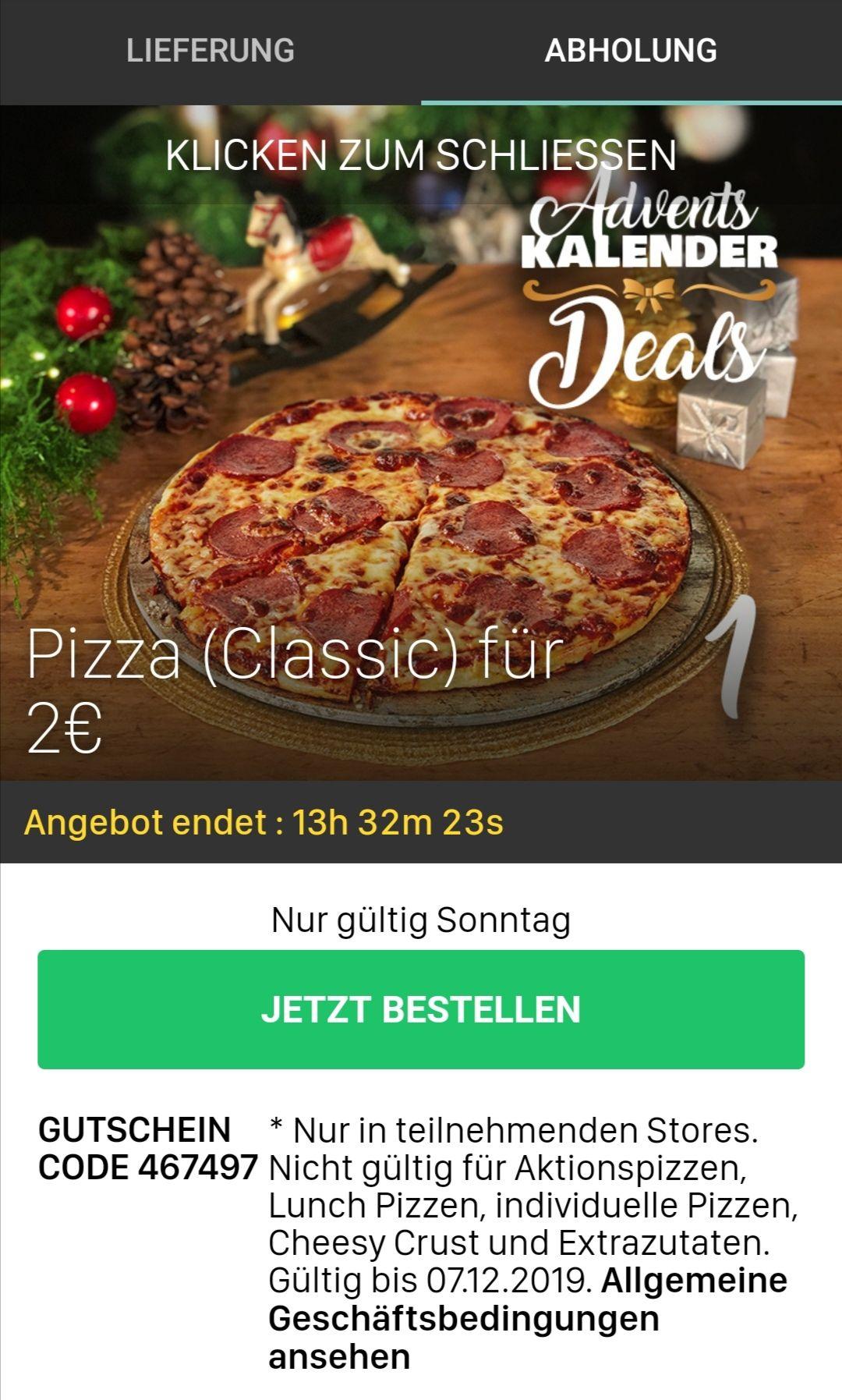 Domino's Pizza Klassiker (Größe Classic) für nur 2€ bei Abholung