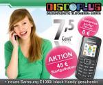 Startpaket discoPLUS inkl. 45 Euro Startguthaben & neues Samsung E1080i für 9,95