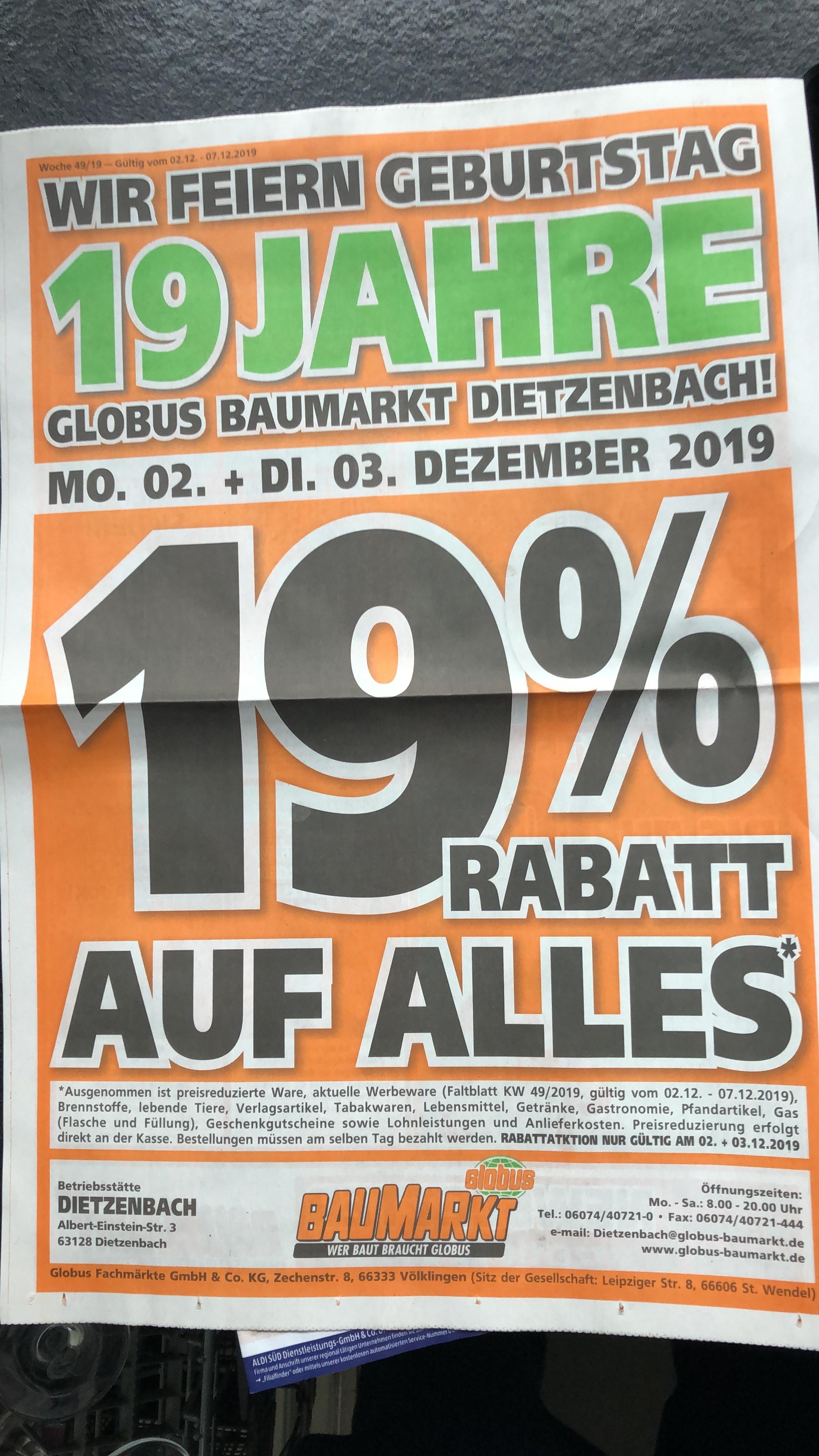 19 % auf alles bei Globus in Dietzenbach