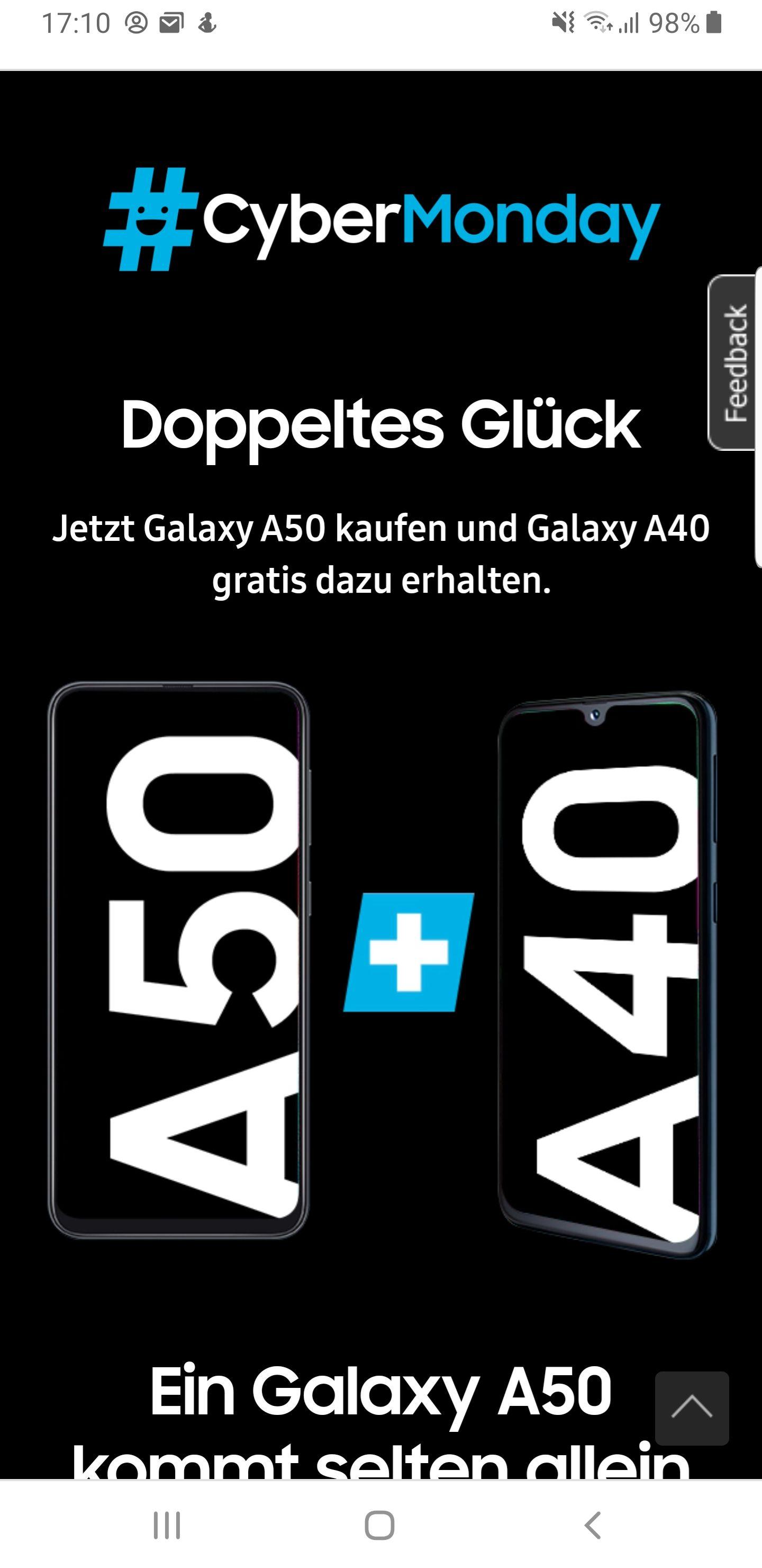 Samsung A50 + A40 für 349€ #Cybermonday Doppeltes Glück