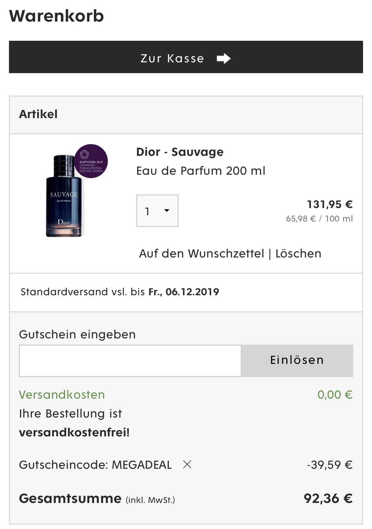 200 ML Dior Sauvage Eu de Parfum