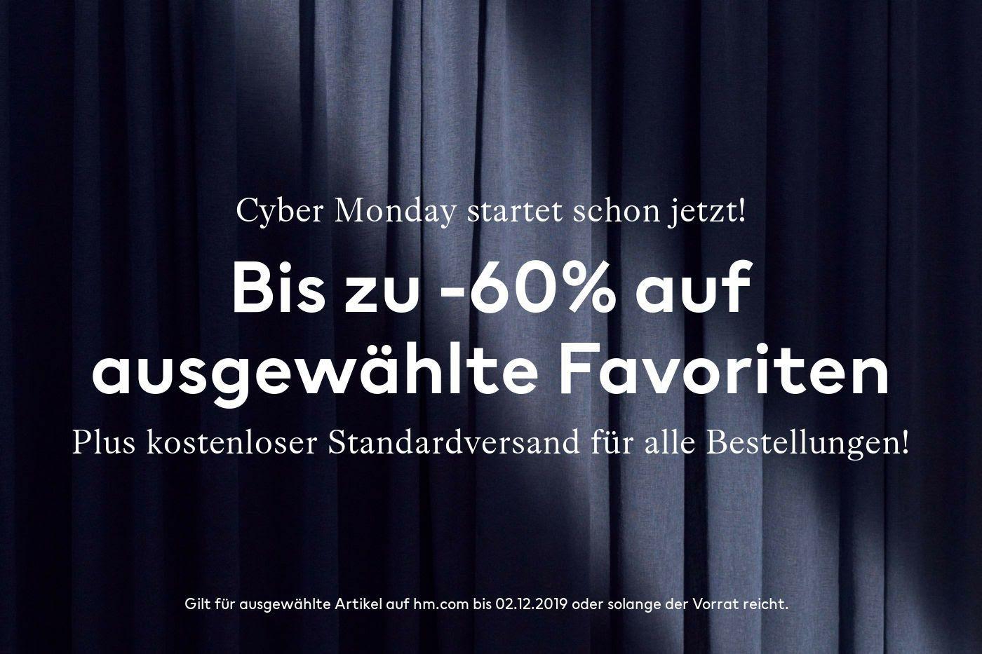 H&M Cyber Monday - Bis zu 60% Rabatt + kostenloser Standardversand