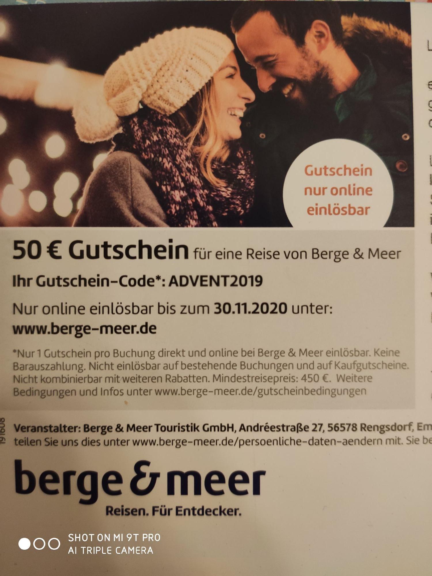 Berge & Meer 50€ Gutschein ab 450€ Reisewert