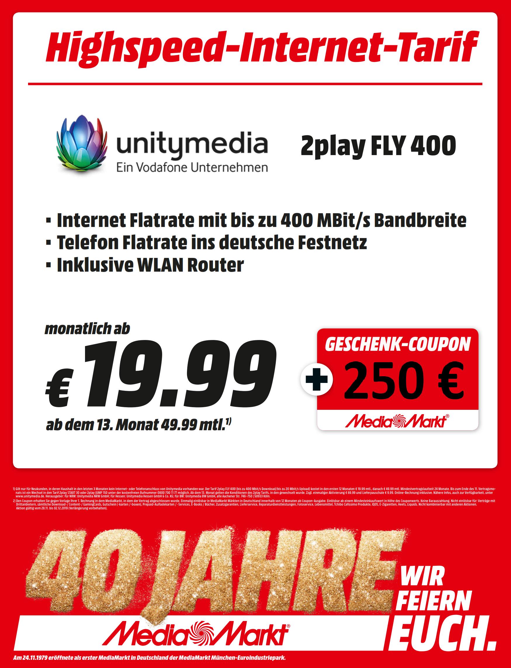 UnityMedia 2Play mit 250€ Coupon (Lokal MediaMarkt Dortmund Indupark)