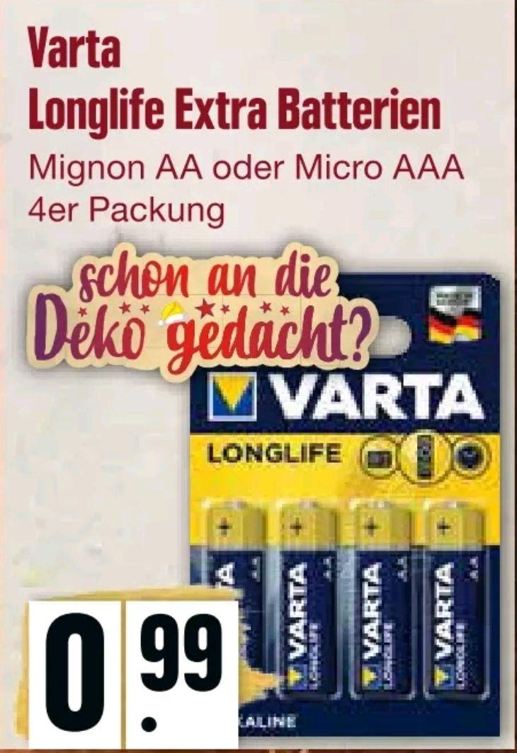 [Lokal HH] Varta Longlife Extra AA & AAA Batterien (4er Pack) ab 2.12. für 0,99 € bei Edeka