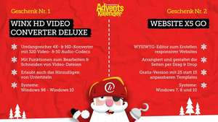 heise Adventskalender Türchen 2: WinX HD Video Converter Deluxe & WebSite X5 go