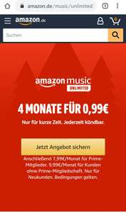 Amazon Music Unlimited 4 Monate - 0,99€/Monat
