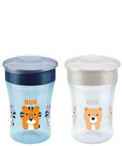 NUK Magic Cup Trinklernbecher 2er-Vorteilspack 230 ml, Tiger/Bär (blau/grau) 5,92€/Stück versch. Motive günstig