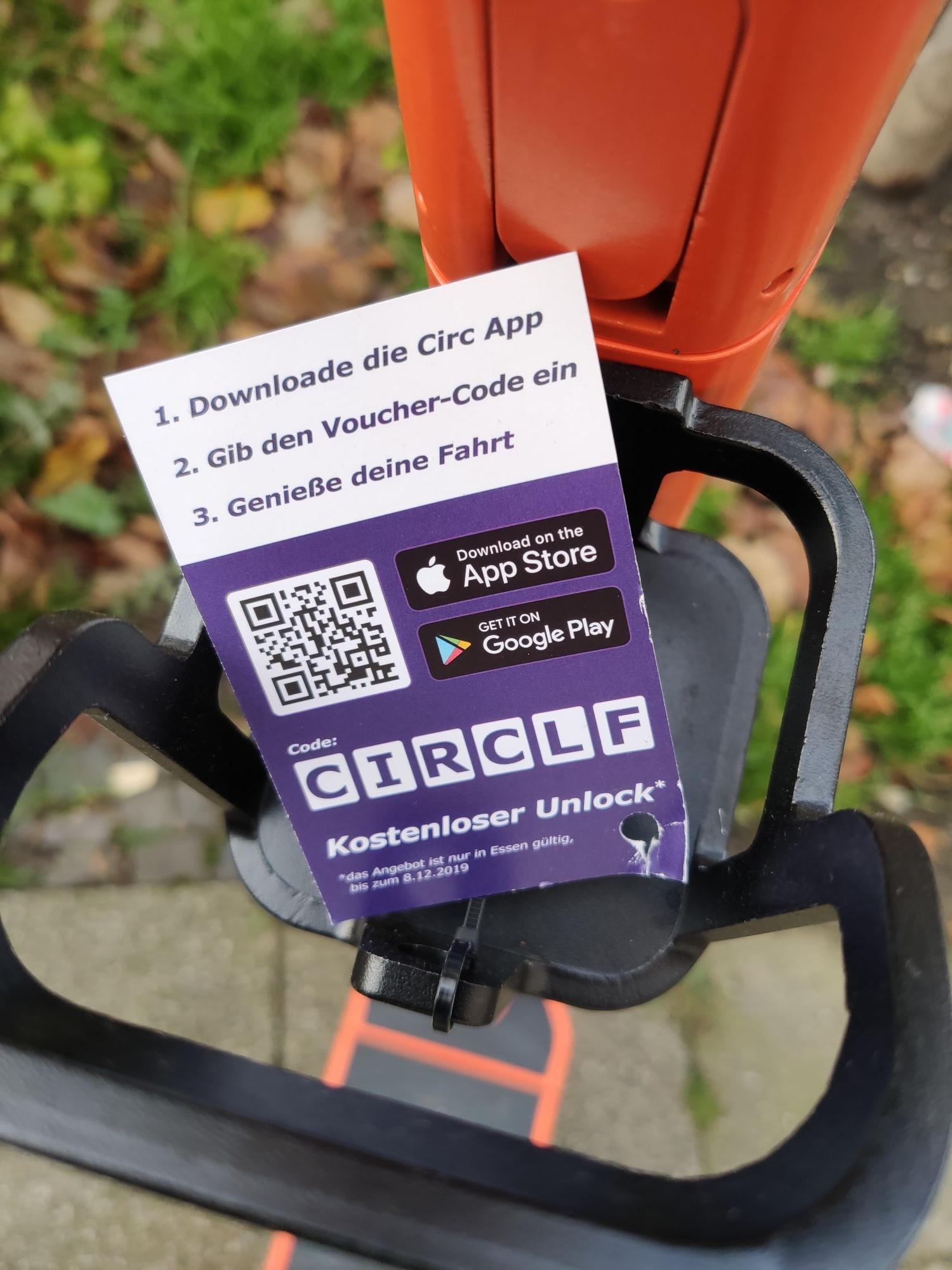 [ggf. Lokal Essen?] Circ eScooter kostenlos bis zu 999* entsperren