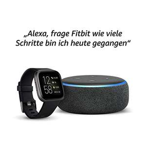 [Amazon] Echo Dot (3. Gen.) Intelligenter Lautsprecher mit Alexa Anthrazit Stoff + Fitbit Versa 2 – Fitness-Smartwatch