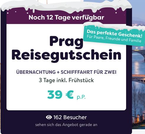 Prag-Reisegutschein – 3 Tage inkl. Frühstück u. Schiffahrt für 2 für 39,–€ p.P.