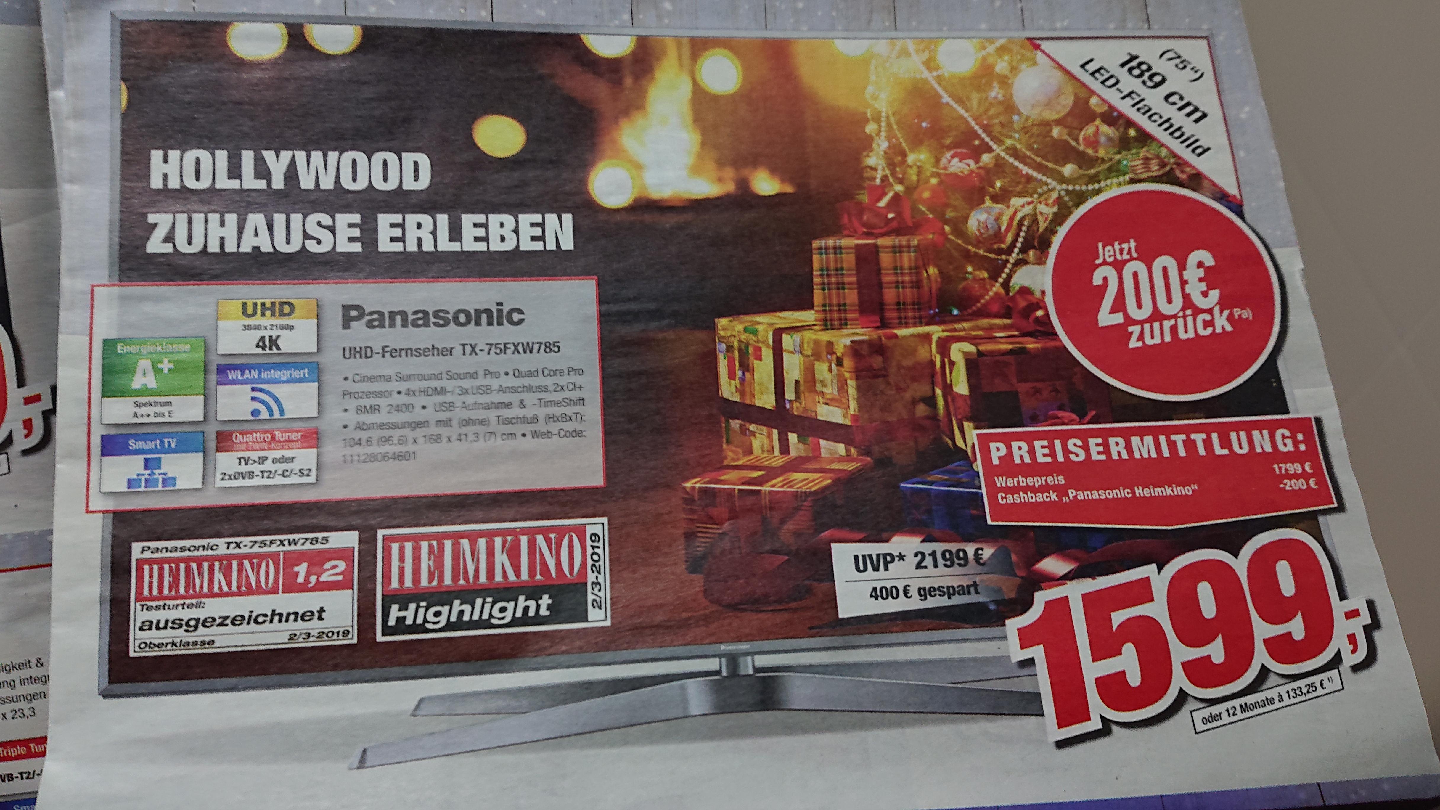 Lokal TootalMarkt Vechta oder EURONICS XXL Gummersbach!Panasonic 4K Ultra HD TV TX-75FXW 785 metal silver Nur 1599,- Euro