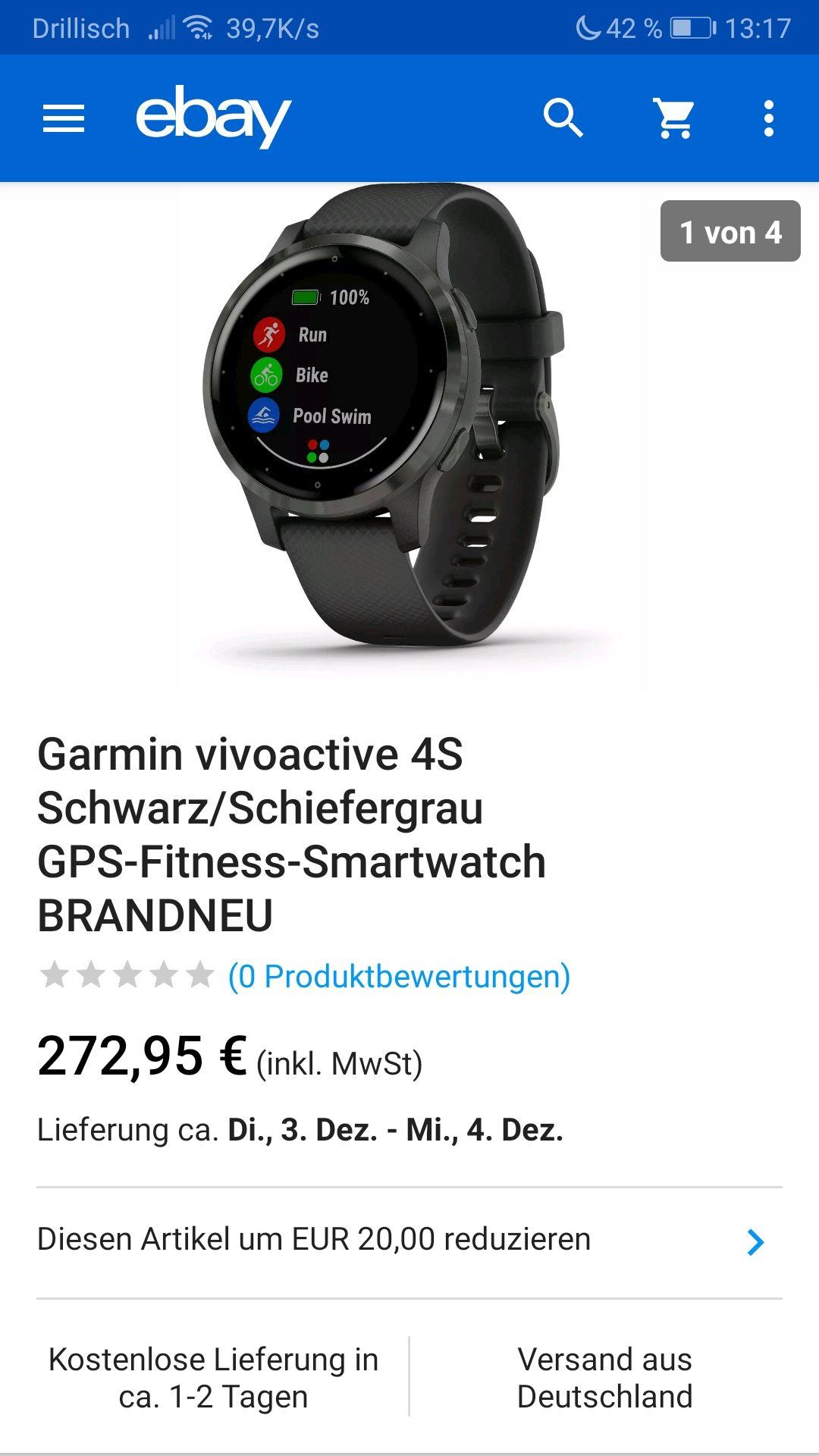 Garmin vivoactive 4s schwarz Smartwatch