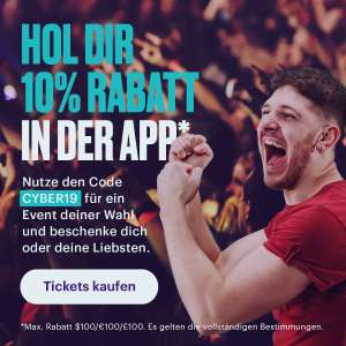 10% Rabatt auf Tickets bei StubHub über die App