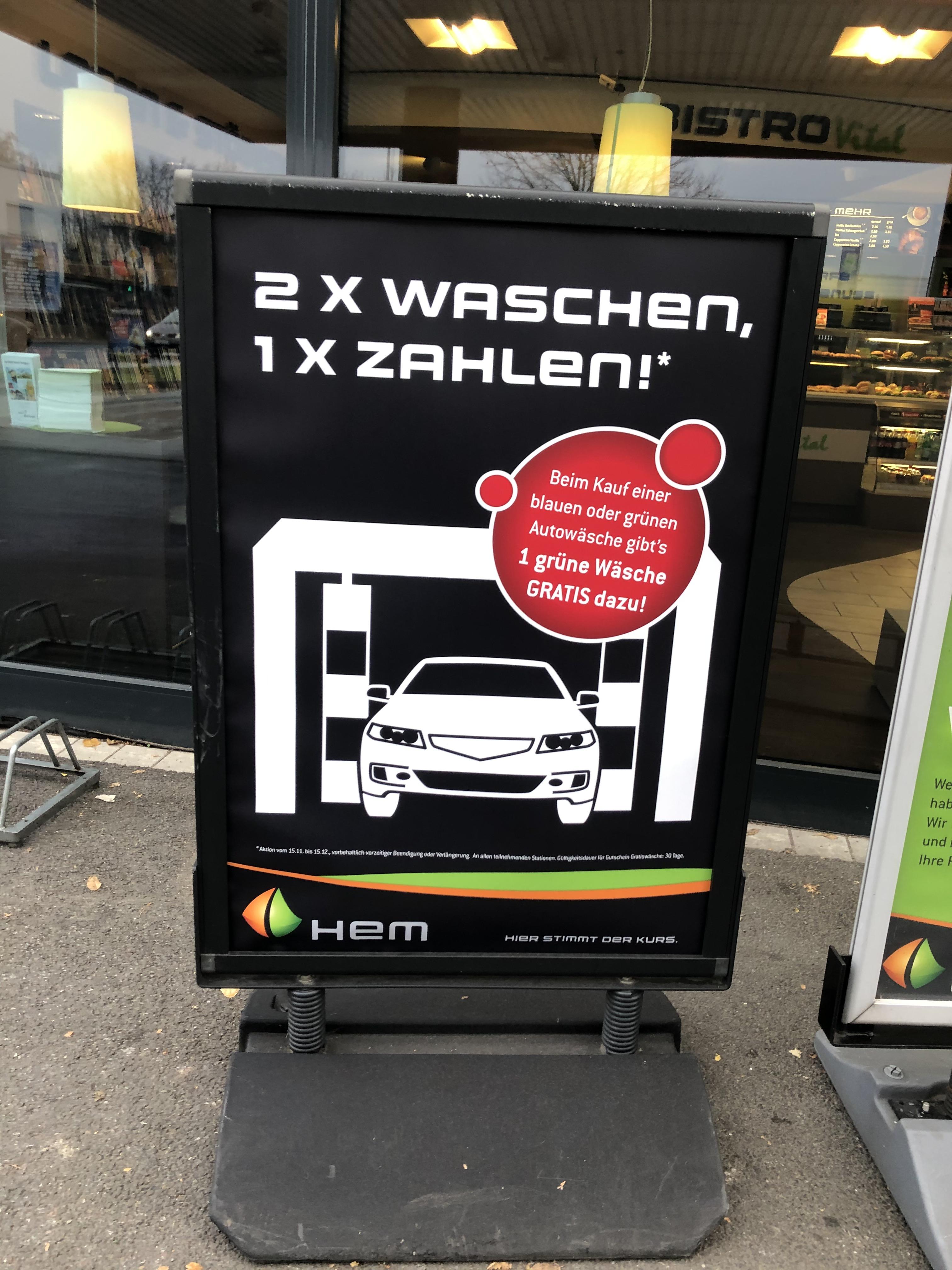 [Bundesweit] Tankstelle HEM 2x waschen 1x zahlen!