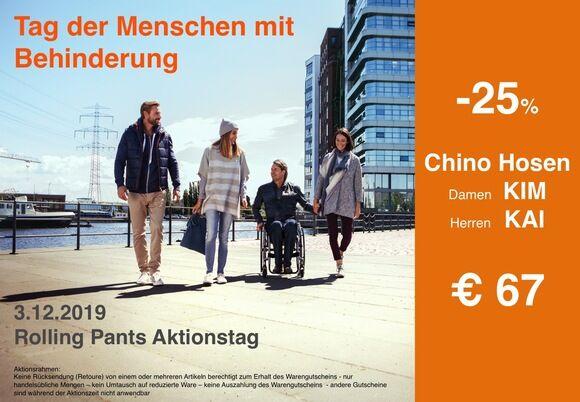 Chino Hosen für Rollstuhlfahrer - nur morgen 25% extra Rabatt am Tag der Menschen mit Behinderung - 98% Baumwolle, besonderer Schnitt