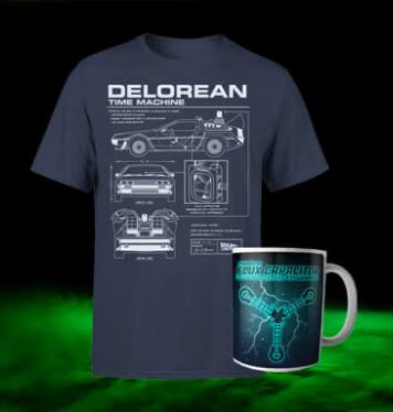 Zurück In Die Zukunft Delorean T-Shirt inklusive Tasse für 12,48€ (Zavvi.de)