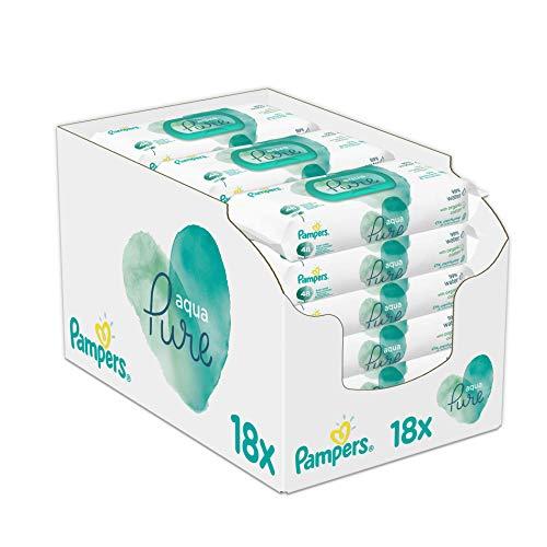 Pampers Aqua Pure Feuchttücher, 18 Packungen (18 x 48 Stück) [Amazon Spar-Abo]