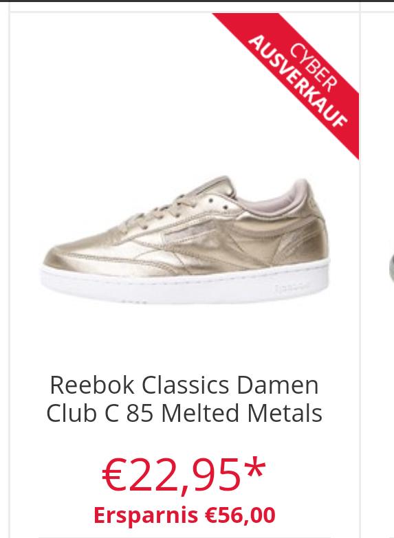 Cyber Ausverkauf bei MandM, z.B. Reebok Club C85 Melted Metals Gold