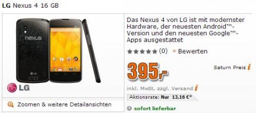 Google Nexus 4 16GB bei saturn.de sofort lieferbar!