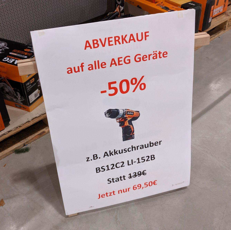 AEG Werkzeug Abverkauf -50% @Hagebaumarkt Ziesak Bochum (z.B. Akkuschrauber AEG BS 12C2 LI-152B für 69,50€) *LOKAL*