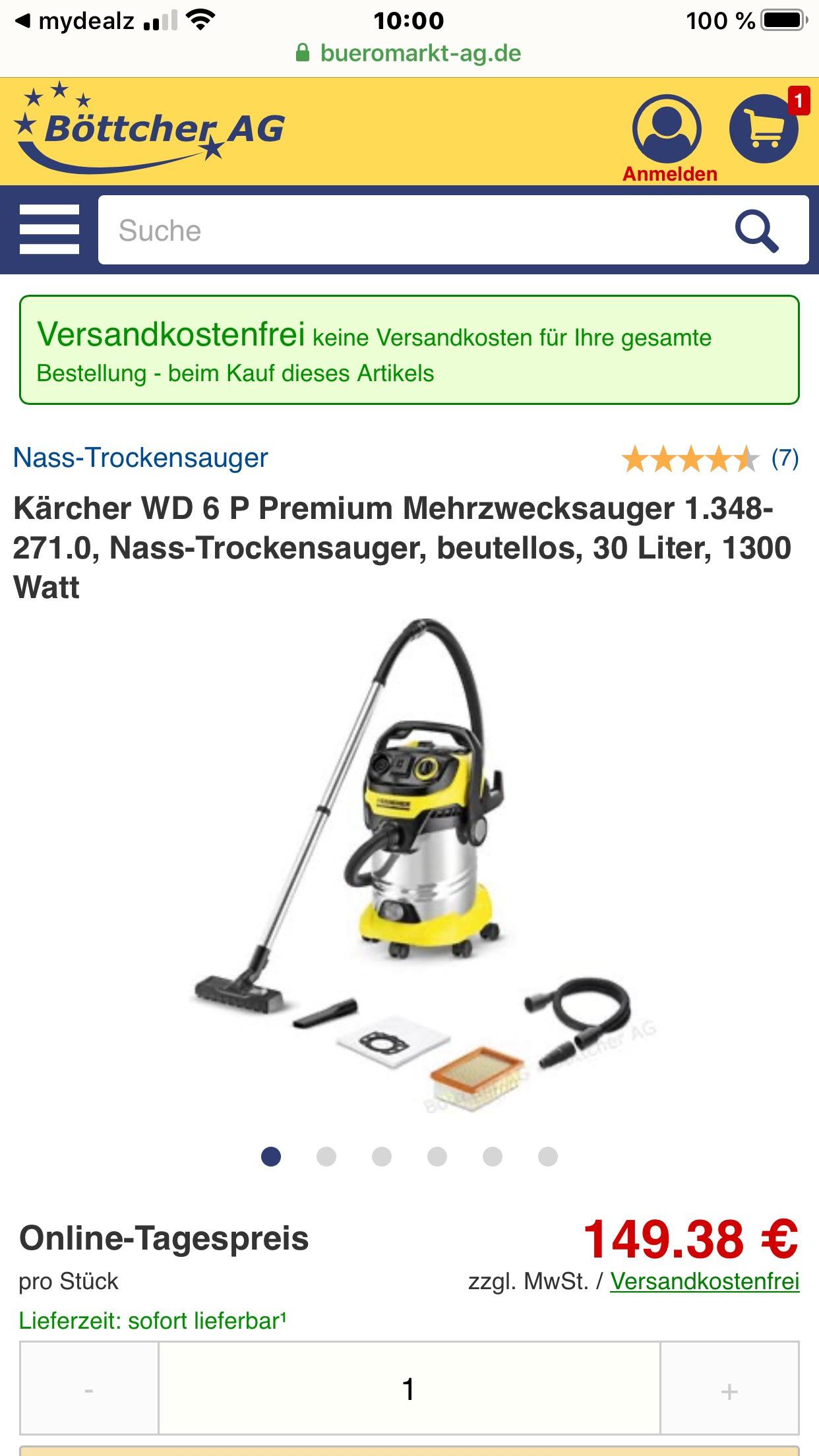 Kärcher WD 6 P Premium Mehrzwecksauger + Absaugset für Elektrowerkzeuge