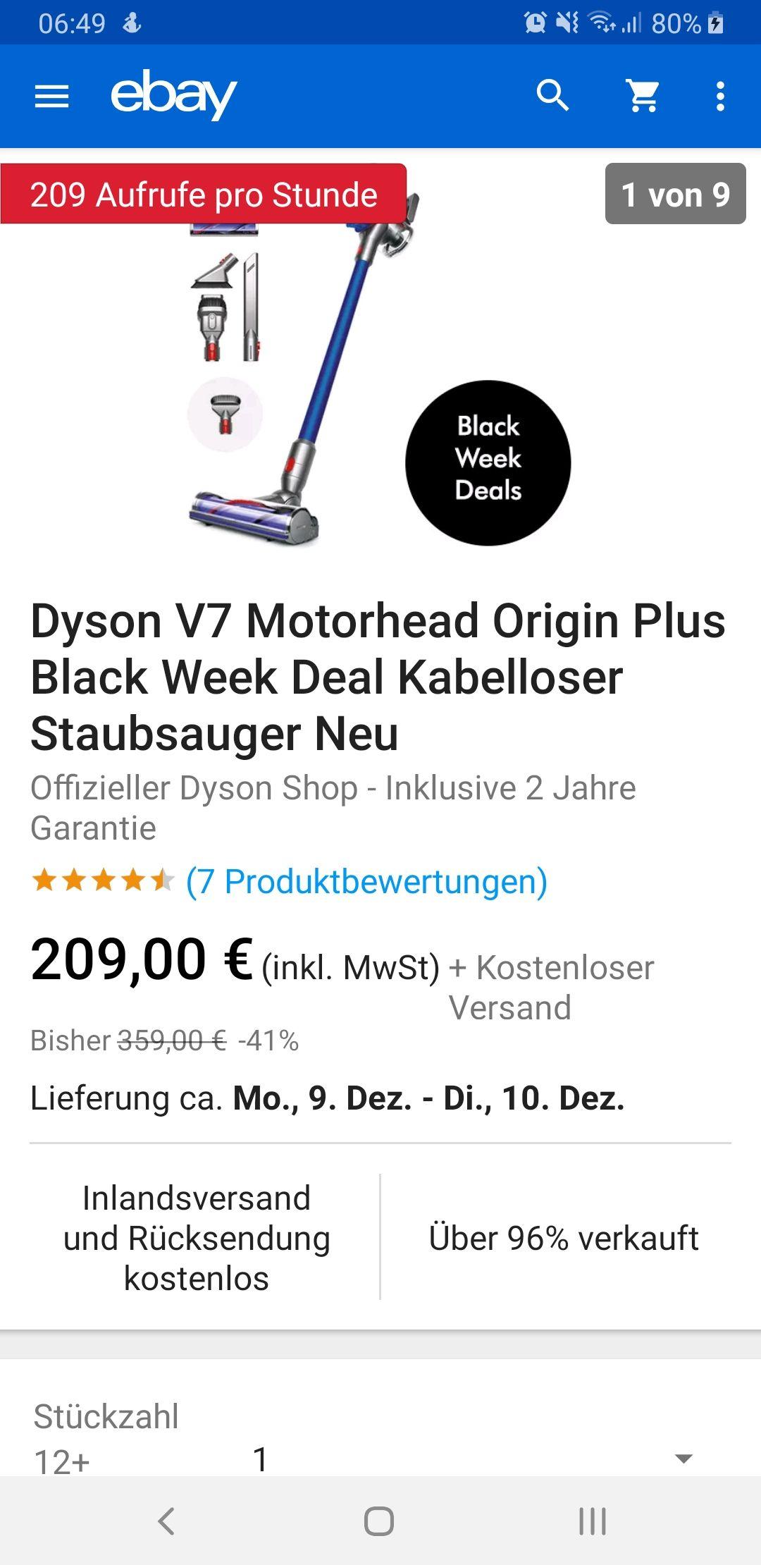 eBay - Dyson V7 Motorhead Origin Plus Black Week Deal Kabelloser Staubsauger Neu