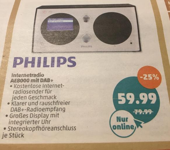 [Penny-Online] Philips DAB+ Internetradio AE8000 64,94 € mit VSK