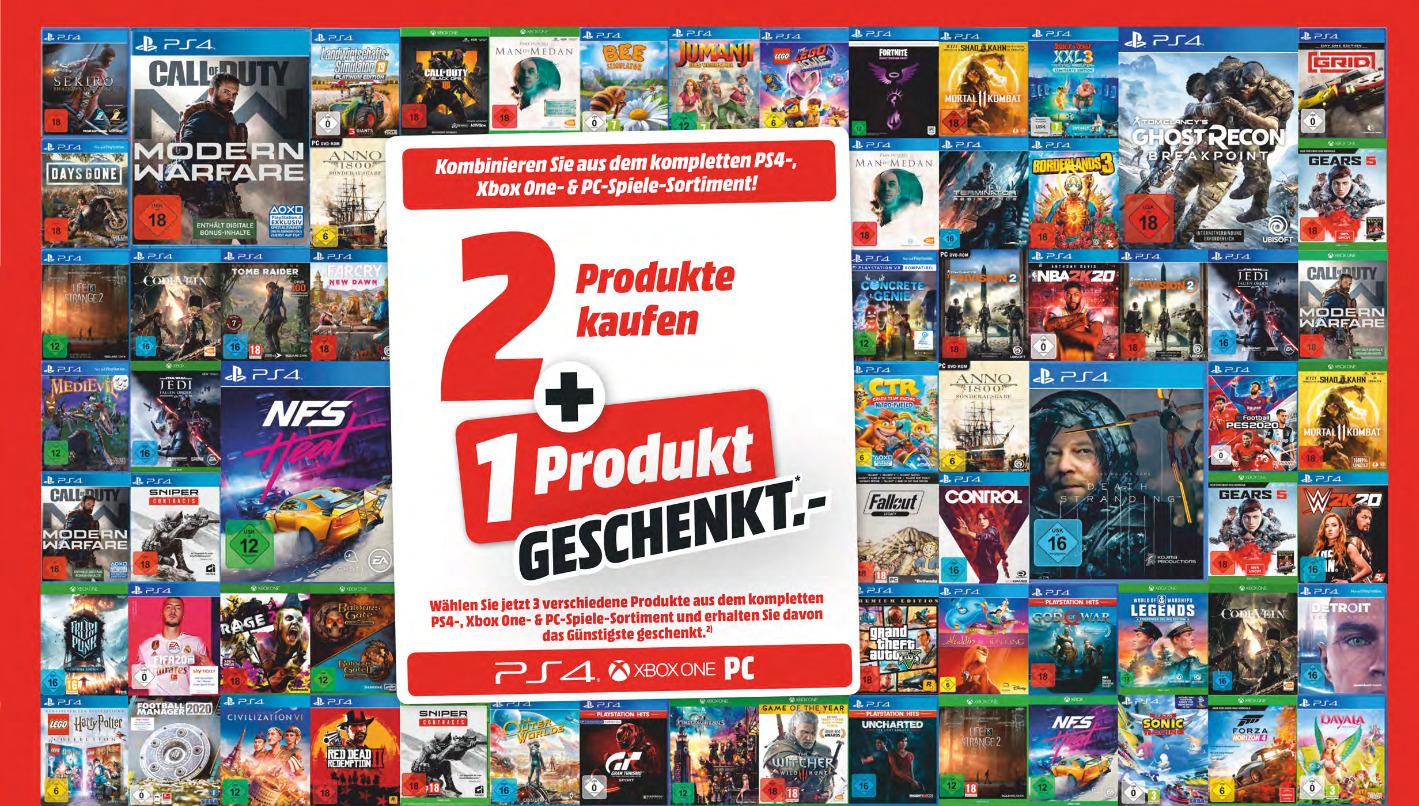 [Media Markt ab 3.12.] 3x Spiele kaufen - das günstigste geschenkt: für alle vorrätigen Xbox One, PC- und PS4-Spiele