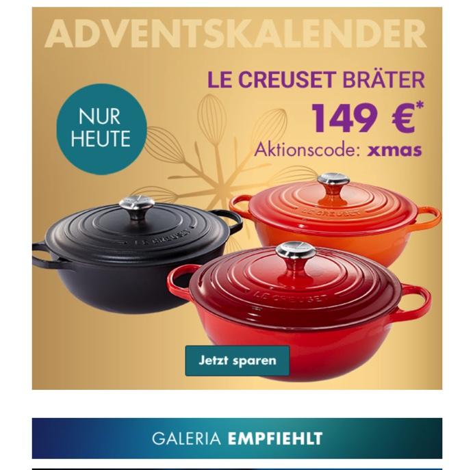 Le Creuset Bräter 26-28cm, Nur heute in 3 Farben Karstadt-Galeria