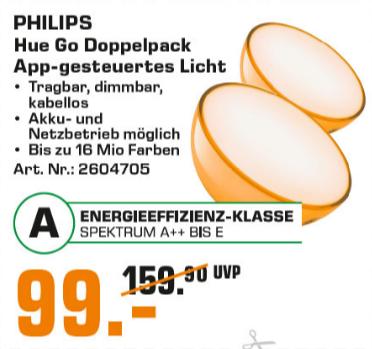 PHILIPS Hue Go 2 White & Color Ambiance Doppelpack (neues Modell) mit Bluetooth für 99€ [Saturn]