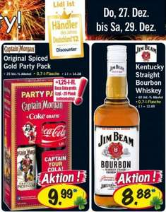 LIDL - Captain Morgan + CocaCola 0,7l / Jim Beam 0,7l