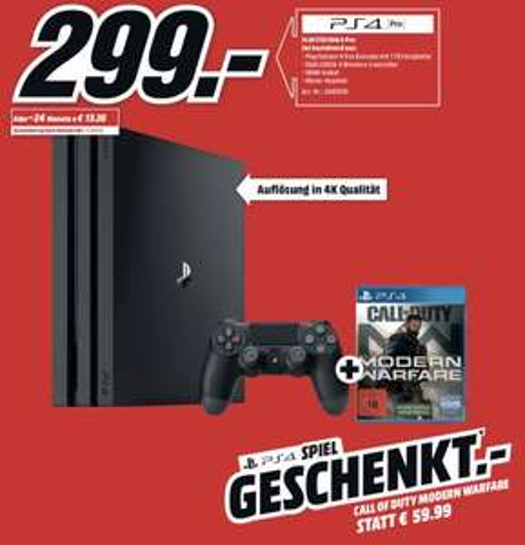 PlayStation 4 Pro + Call of Duty Modern Warfare für 299€ (mit 3 für 2 Aktion kombinierbar) [MediaMarkt]
