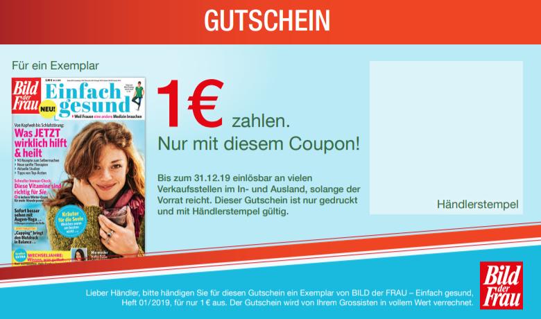 """[Kiosk- Zeitschriftenhändler] 1 € für die Zeitschrift """"bild der frau einfach gesund"""" 01/19"""