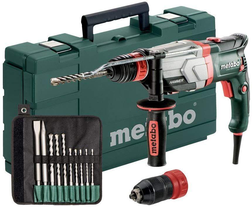 Metabo Multihammer UHEV 2860-2 Quick Set (1100 Watt, 3,4 J Joule, Wechselfutter SDS-Plus, Bohrhammer mit Koffer und Bohrer-/Meisselsatz)