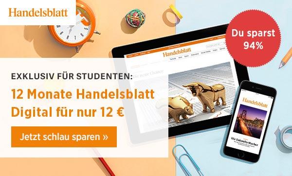 Handelsblatt Digitalabo 12 Monate - 12 € (Studenten)
