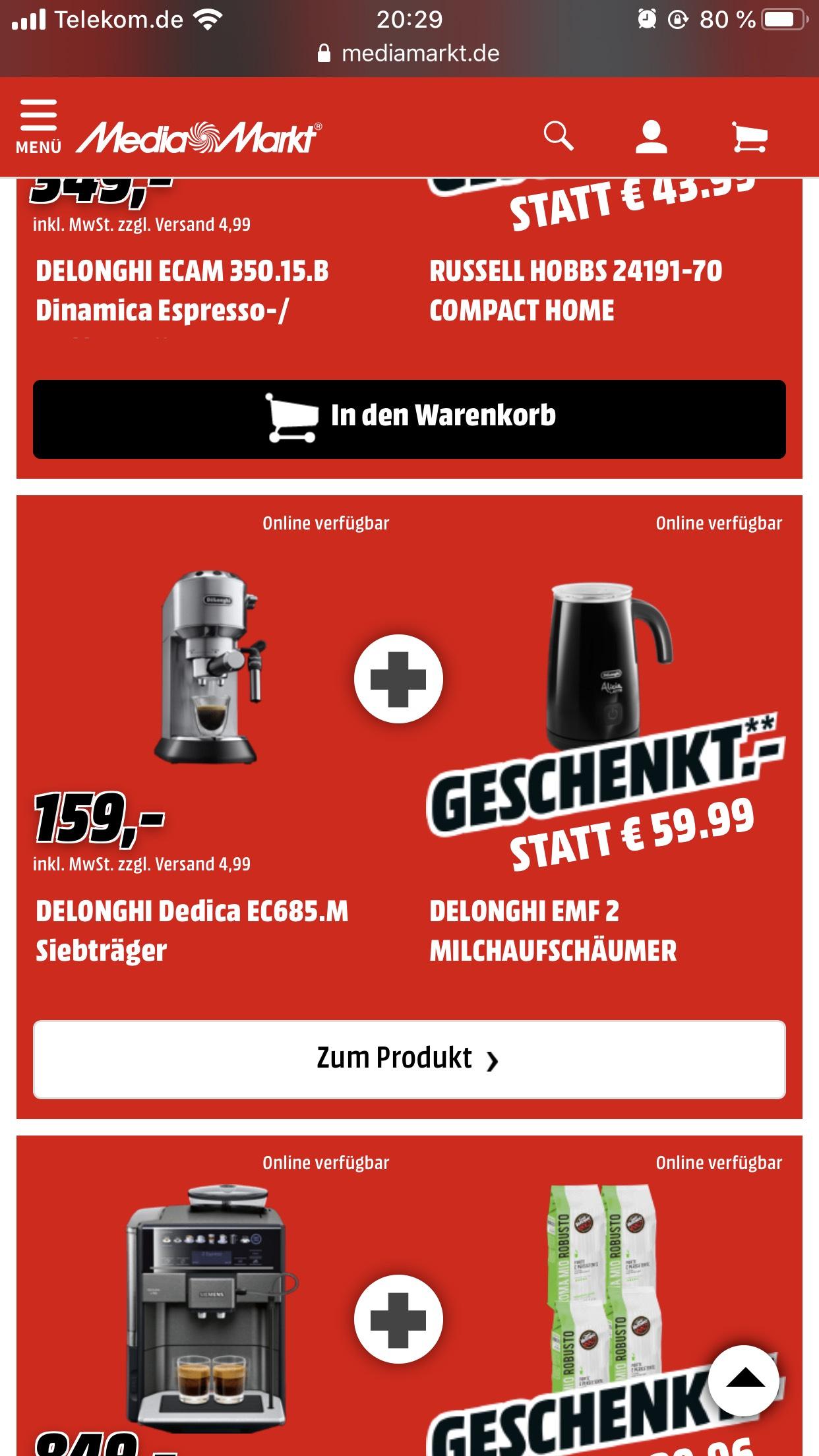 [Mediamarkt] Delonghi EC 685 M Espressomaschine + Delonghi Alicia Milchaufschäumer 159€