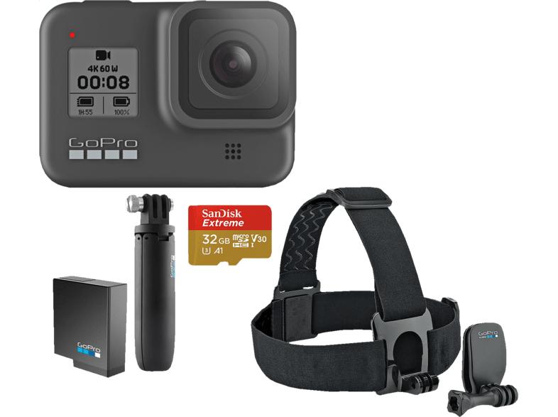 GoPro Hero 8 Black Bundle mit Kopfgurt, Shorts, SD Karte & Ersatzakku