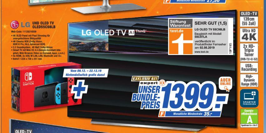 [Expert Schlagenhauf ab 09.12] LG OLED55C98 OLED-TV (Smart TV, 4K, HDR, USB-Aufnahme) 139,7 cm + Nintendo Switch neue Version für