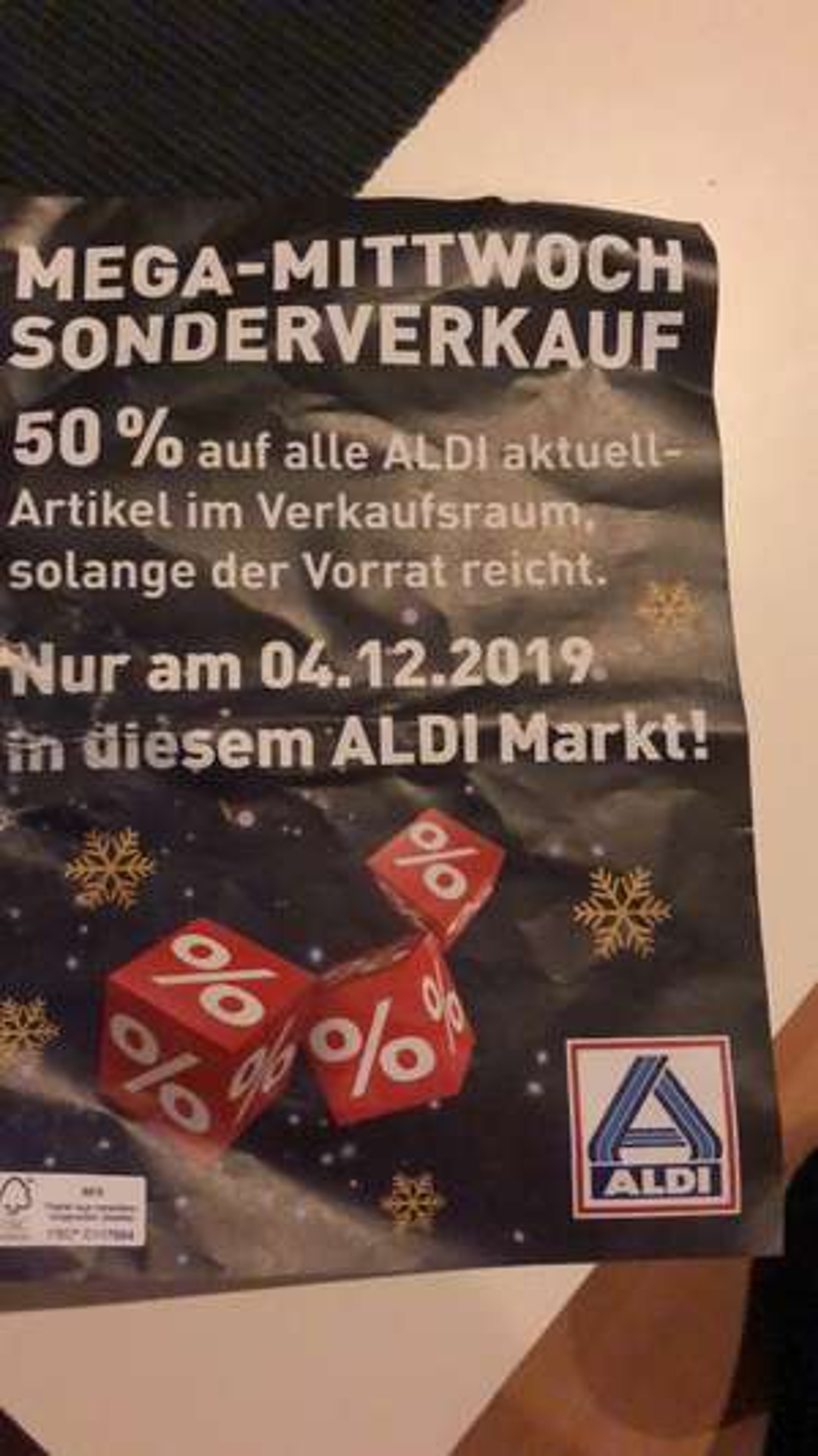 ALDI Ausverkauf nur am 04.12.19: 50% Rabatt auf Restposten