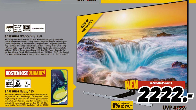 "[lokal: Medimax Strausberg] Samsung GQ75Q85RGT - 75"" 4K UHD Smart TV (VA, Direct-LED, FALD / 96 Zonen, 120Hz, 10bit, Tizen, One Connect Box)"