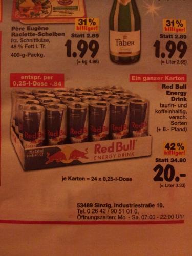 Kaufland Sinzig Red Bull 24 Dosen für 20€ (0,84€ pro Dose)