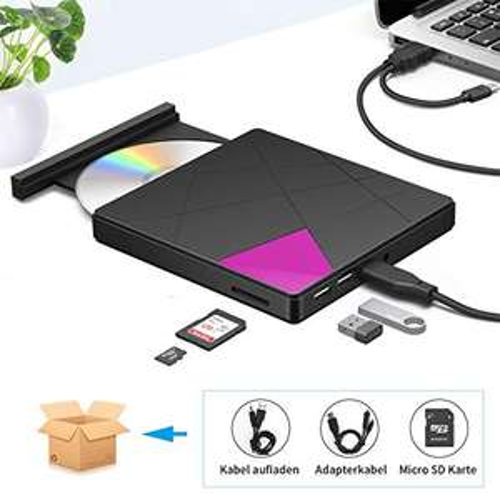 Externes CD DVD Laufwerk Typ-C USB 3.0 Slim CD DVD RW Brenner SD Karte Reader