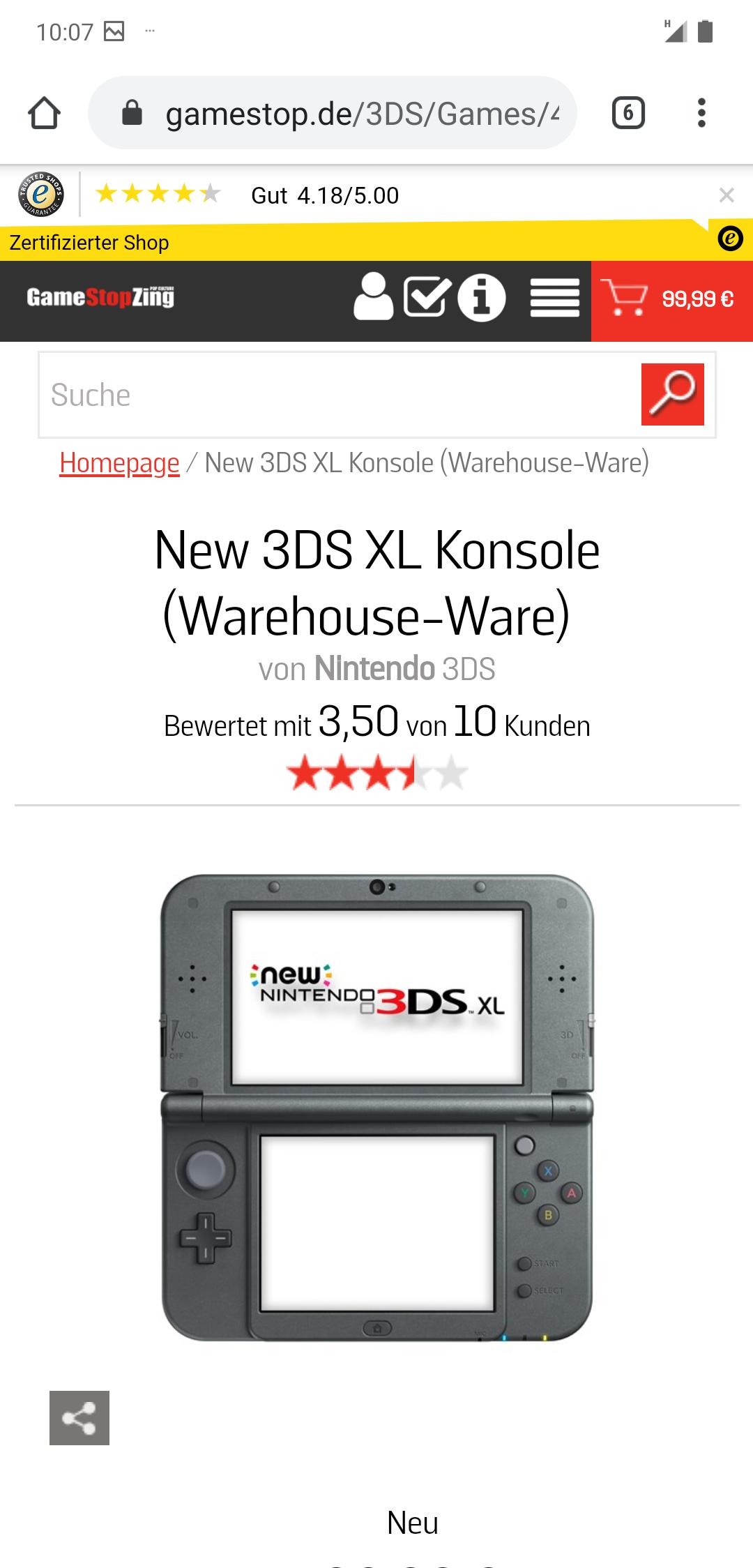 Gamestop Retoure New Nintendo 3DS XL
