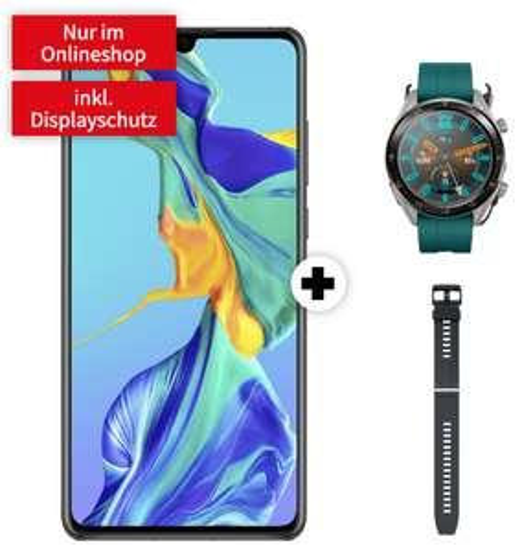 Huawei P30 + Watch GT Active inkl. 2. Armband für 1€ + o2 Allnet-Flat mit 5GB LTE für 19,99€ mtl.