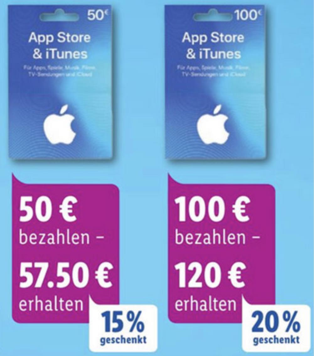 Lidl: Bis zu 20% zusätzliches Guthaben für iTunes & App Store Geschenkkarten - 25€, 50€ u. 100€ - ab 16.12.