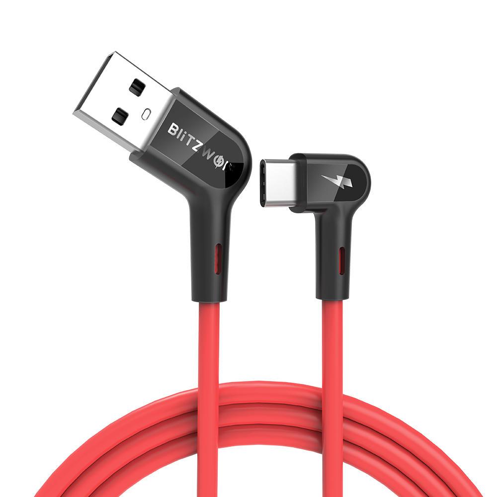 Blitzwolf® BW-AC1 3A 90° rechter Winkl USB A zu Type-C Ladekabel / Datenkabel 0,9m