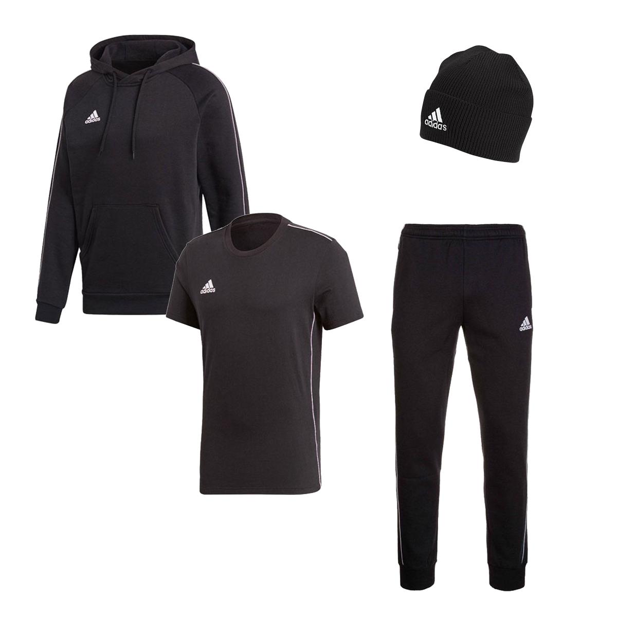 adidas Freizeitset Core (Hoody, Jogginghose, Shirt, Mütze) - verschiedene Farben