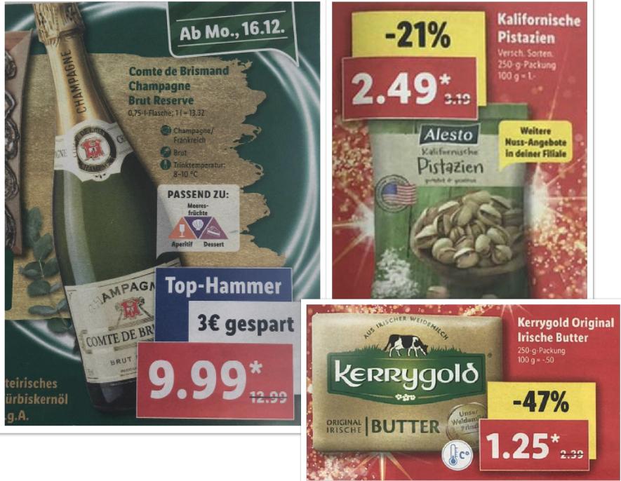 Lidl ab 16.12.: Champagner Comte de Brismand für 9,99€, Pistazien 250g für 2,49€, Kerrygold Butter 1,25€, Jim Beam + Long Drink Glas 8,99€
