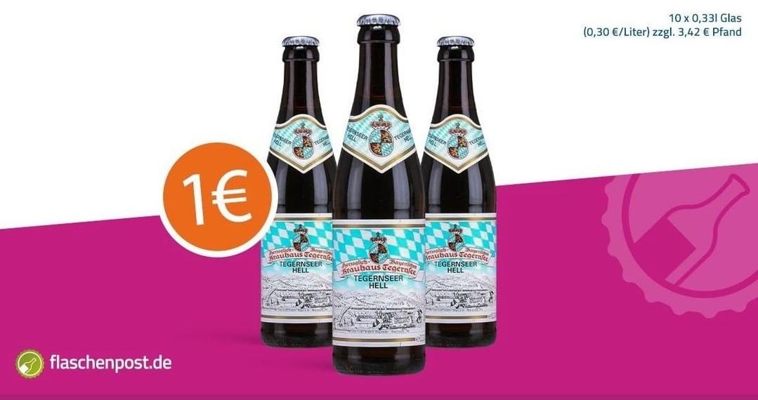 (Evtl Lokal München) 10 Flaschen Tegernseer (0,33) für 1€ zu jeder Bestellung